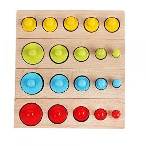 Joc Lemn Montessori Cilindri din Lemn - Set 4 Cilindri Colorati1