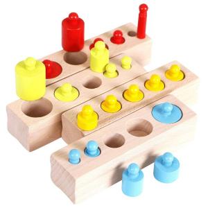 Joc Lemn Montessori Cilindri din Lemn - Set 4 Cilindri Colorati0
