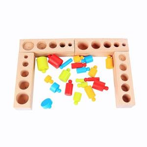 Joc Lemn Montessori Cilindri din Lemn - Set 4 Cilindri Colorati2