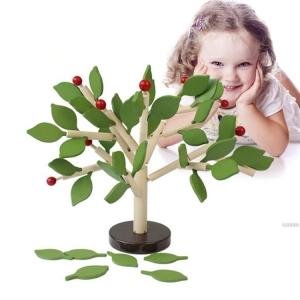 Jucarie de Lemn Puzzle Montessori Copacul cu Frunze 3D3