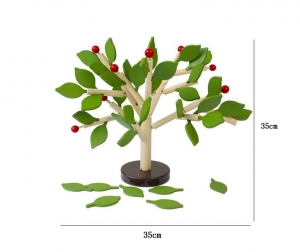 Jucarie de Lemn Puzzle Montessori Copacul cu Frunze 3D5