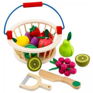Cos din Lemn cu Fructe - Legume de Feliat cu prindere Magnet0