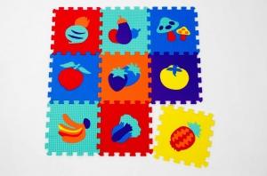 Set puzzel 10 piese cu fructe si legume - Covoras puzzle fructe si legume0
