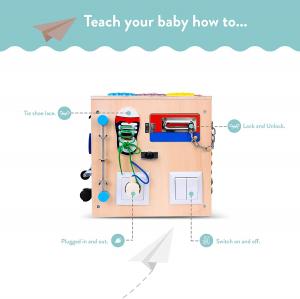 Cub Lemn Educativ Senzorial Montessori Busy Box [7]