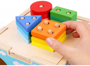 Cub din lemn educativ sortator si stivuire cuburi  5 in 12