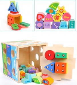 Cub din lemn educativ sortator si stivuire cuburi  5 in 13