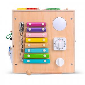 Cub Lemn Educativ Senzorial Montessori Busy Box [1]