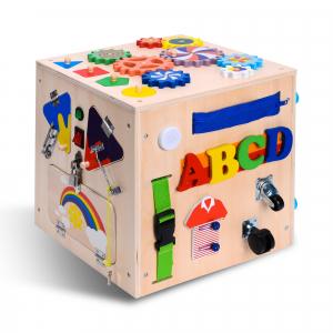 Cub Lemn Educativ Senzorial Montessori Busy Box [0]