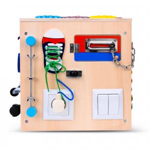 Cub Lemn Educativ Senzorial Montessori Busy Box [3]