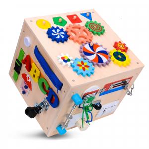 Cub Lemn Educativ Senzorial Montessori Busy Box [4]