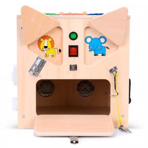 Cub Lemn Educativ Senzorial Montessori Busy Box [5]