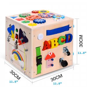 Cub Lemn Educativ Senzorial Montessori Busy Box [6]