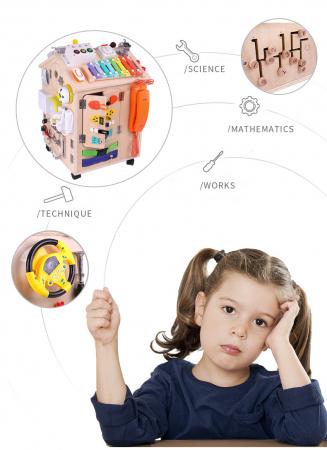Cub cu Activitatii Montessori din Lemn Inchizatori Casuta cu Jocuri [3]
