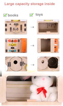 Cub cu Activitatii Montessori din Lemn Inchizatori Casuta cu Jocuri [8]