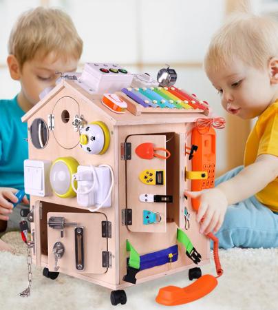 Cub cu Activitatii Montessori din Lemn Inchizatori Casuta cu Jocuri [4]
