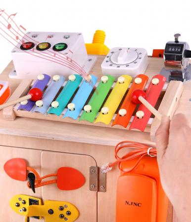 Cub cu Activitatii Montessori din Lemn Inchizatori Casuta cu Jocuri [5]