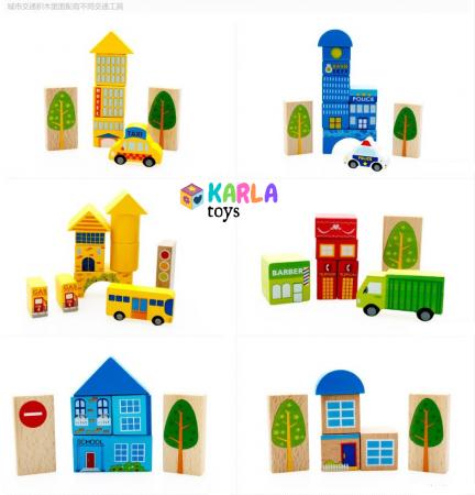 Cuburi lemn de construit cu covor puzzle Traficul Urban2