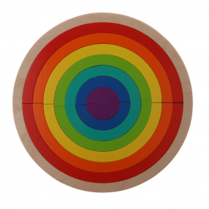 Joc din Lemn Montessori Curcubeu Dublu - Puzzle Lemn Curcubeu 14 Piese.1