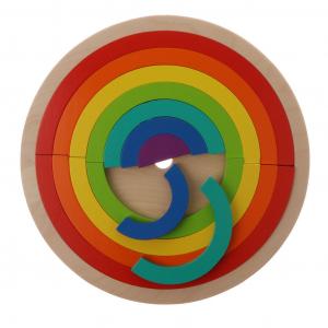 Joc din Lemn Montessori Curcubeu Dublu - Puzzle Lemn Curcubeu 14 Piese.4