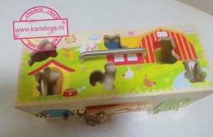 Cutia incuie si descuie din lemn  cu forme si animale - Joc montessori Cutia cu incuietori5