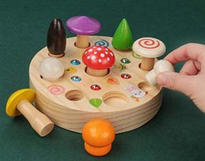 Joc din Lemn Montessori Magnetic Ciuperci de cules1