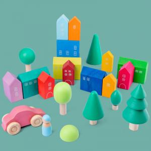 Set Cuburi Lemn Orasul Curcubeu - Rainbow House set 15 piese1