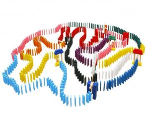 Joc de lemn Domino  cu piese colorate1