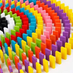 Joc de lemn Domino  cu piese colorate0
