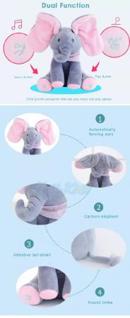 Elefantul Vorbitor Jucarie interactiva Elefantul Cucu bau Peek-a-boo2