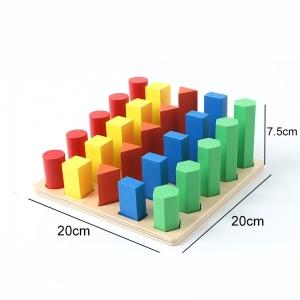 Joc lemn montessori forme geometrice - Joc Montessori Scara din lemn învățare lungime formă geometrică [2]