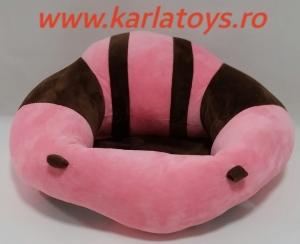Fotoliu din plus bebe Sit Up  colorate roz cu inimioare12