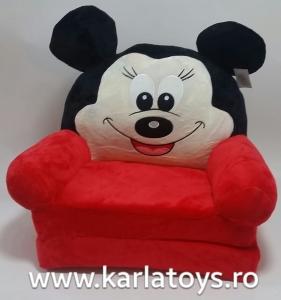 Fotoliu extensibil din plus MickeyMouse rosu 80 cm1