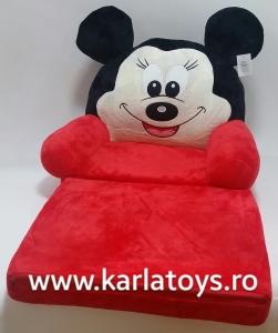Fotoliu extensibil din plus MickeyMouse rosu 80 cm0