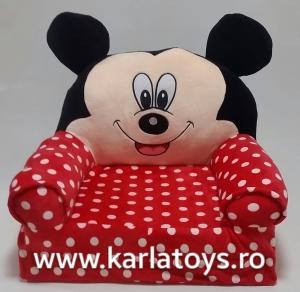 Fotoliu extensibil XXL din plus Mickey Mouse cu buline 120 cm1