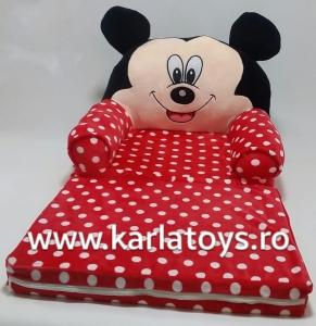 Fotoliu extensibil XXL din plus Mickey Mouse cu buline 120 cm0