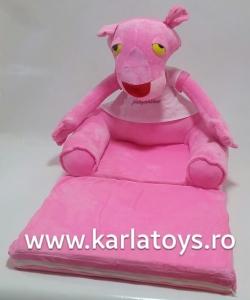 Fotoliu extensibil Pantera Roz din plus pentru copii 80 cm0