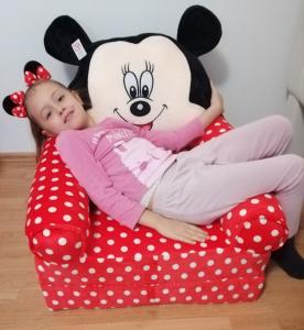 Fotoliu extensibil XXL din plus Mickey Mouse cu buline 120 cm4