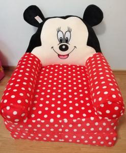 Fotoliu extensibil XXL din plus Mickey Mouse cu buline 120 cm5