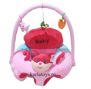 Fotoliu Plus Bebe sit up cu arcada de jucarii  Baby roz0