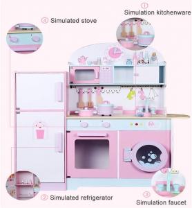 Set Bucatarie si frigider de lemn copii - Bucatarie din lemn Dubla1