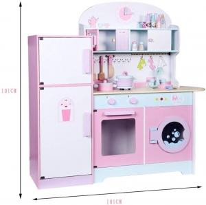 Set Bucatarie si frigider de lemn copii - Bucatarie din lemn Dubla3
