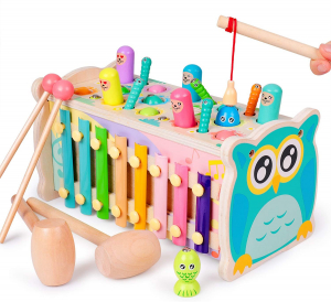 Joc din lemn Hamster cu ciocanel si Xilofon 4 in 10