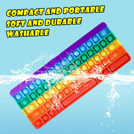 Joc antistres din silicon Pop it Tastatura Multicolora Keyboard [10]