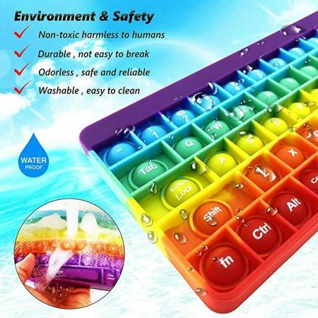 Joc antistres din silicon Pop it Tastatura Multicolora Keyboard [7]