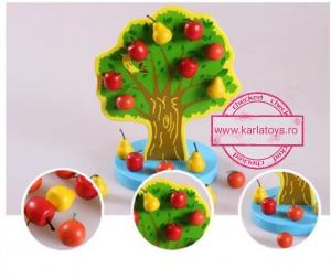 Joc de Lemn Montessori Pomul cu Mere - Apple Tree0