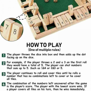 Tabla de joc numere   - Joc de masa din lemn cu zaruri Shut the Box7