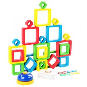 Joc Lemn de Societate Stivuire Stacking Game - Joc din Lemn Senzorial Forme Geometrice1