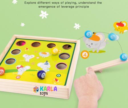 Joc din lemn copii biliard si joc de pescuit5