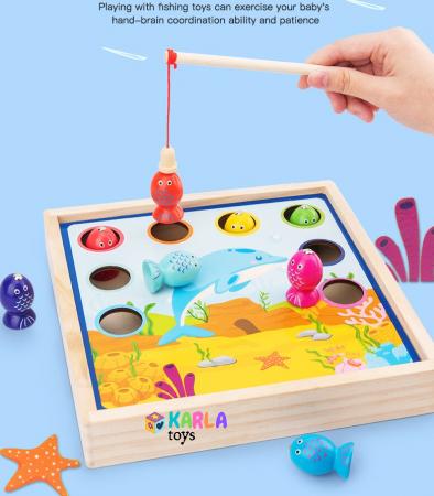 Joc din lemn copii biliard si joc de pescuit8