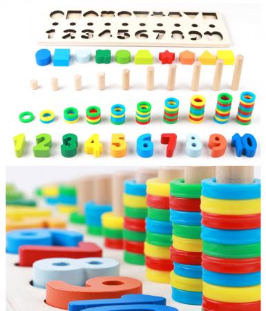 Joc din Lemn cu Cifre Educativ si forme geometrice [3]